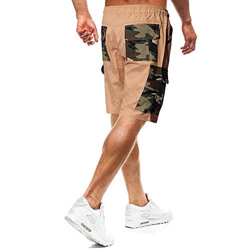 PUJIANGxian Männer reizvoller Leichtbau Stilvollen Naht an Einer Haltegurt Tarnung Ladung Shorts Baumwolle Länge Sport (Color : Khaki, Size : M)