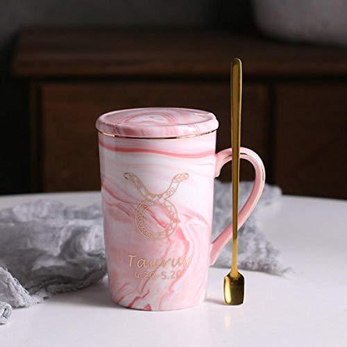 LongBin Taza del Zodiaco Rosa De Cerámica De La Constelación De Mármol Natural 12 con La Tapa Tazas De Café Taza De La Personalidad Creativa 400Ml Sin Plomo-Taurus_Pink_400Ml