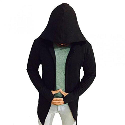 PAUSE Black Solid Cotton Hood Slim Fit Full Sleeve Men