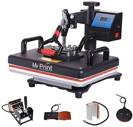 MY PRINT | Heat Press 5 in 1 Digital Multi Functional Sublimation, Vinyl Printing Machine for T-Shirts (Any Flat Prod...