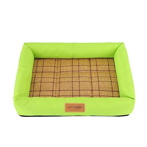 Huisdierkoelmat, koelbox, kooi, comfortabele huisdierslaapmat, kattennest, kussen, warmteafvoerkussen voor de zomer en winter 77x62x9cm groen