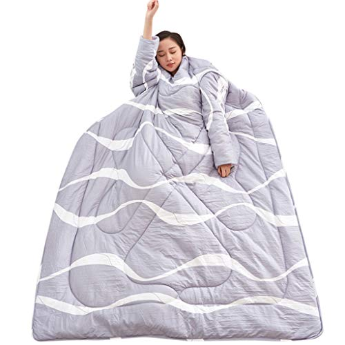 AmyGline Doppelseitige Lazy Quilt Mit Ärmeln Winter Quilt Warm Thickened Washed Quilt Blanket Schlafsack 150x200cm