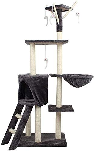 Wxxdlooa Cinco Pisos Grande Gato Columpio, Scratch sisal Rascador Cat House Cat Suministros Junta del Café Tienda de Animales de Juguete for Mascotas (Size : 35 * 50 * 140cm)