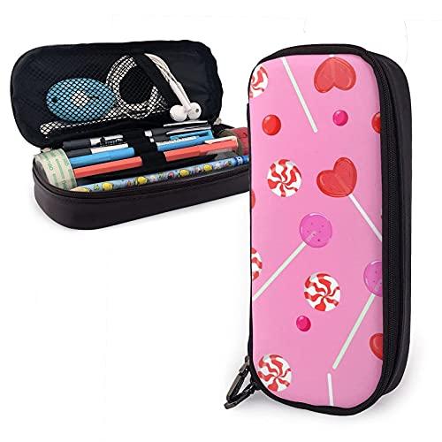 Bolsa para lápices de piel sintética con forma de corazón, color rosa caramelo, con gran capacidad, bolsa para lápices, bolsa de maquillaje, para escuela, estudiante, oficina
