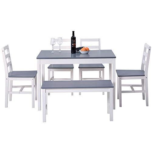 Dining Table and Chairs Set of 4 and Bench Solid Pine Kitchen Table and Chairs Set (Grey+White,1 Table+4 Chairs+1bench)(Delivered in About a Week)