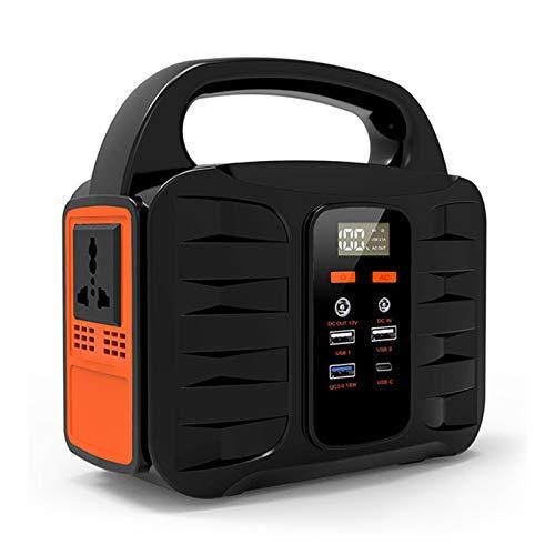 Generador Solar Portátil 155Wh(3.7V 42000mAh), Generador de Camping, Fuente de alimentación de Litio (Carga QC3.0, 110V/220V Salida AC, 4*USB, linternas LED para Camping, Senderismo)