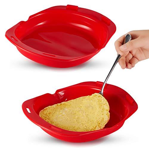 2 Cocedores de Tortillas Antiadherentes de Silicona para Microondas Tortilla de Silicona Bandeja de Silicona para Hornear Rollo de Huevo Herramienta Sartén de Tortilla para Hornear a Vapor