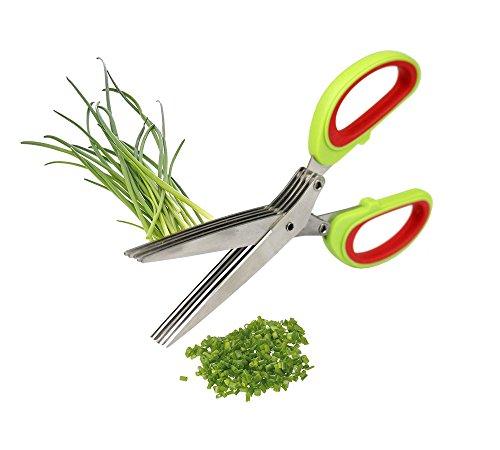 Vetrineinrete® Forbici tagliaspezie con 5 lame in acciao per sminuzzare spezie erbe aromatiche verdure ortaggi salumi formaggi forbice da cucina E37