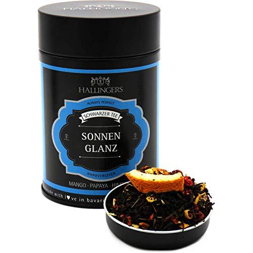 Hallingers Loser Schwarz-Tee mit Mango, Papaya & Himbeere (90g) - Sonnenglanz (Premiumdose) - zu Passt immer ideal als Geschenk