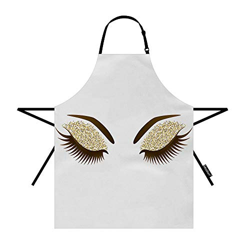 Moslion Eyelash Apron 31x27 Inch Woman Eye with Long Eyelashes Makeup Golden Glitters Eyeshadow Kitchen Chef Waitress Cook Aprons Bib with Adjustable Neck for Women Men Girls