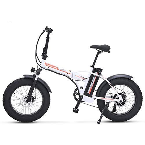 TypeBuilt Faltbares Elektrofahrrad Elektrisches Fahrrad 20 Zoll Elektrisches Fahrrad, Faltendes Elektrisches Fahrrad, Fetter Reifen Ebike, 48V 15AH,500W,Weiß