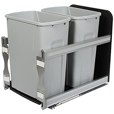 Knape & Vogt USC15-2-35PT In-Cabinet Soft Close Pull Out Trash Can, 19.19 by 14.81 by 22.44-Inch,Platinum
