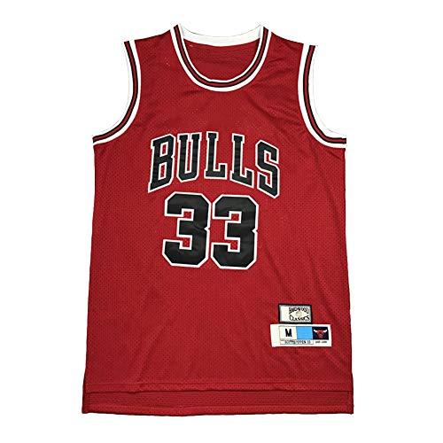 Legend Basketball Trikot,33# Scottie Pippen Chicago Bulls Stickerei Atmungsaktives Swingman Trikot, 90S Hip Hop Kleidung T-Shirt Top für Party (XS-XXL)-XXL(190.195cm)