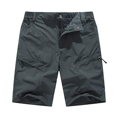 YSENTO Men's Outdoor Quick Dry Hiking Running Cargo Shorts Gym Training Exercise Shorts Zipper Pockets(US 34, Dark Grey)