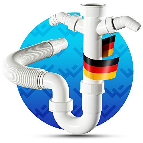 LOBENSWERK® Siphon für Küchenspüle mit flexiblem Ablaufschlauch - 100% Wasserdicht - Röhrensiphon mit zwei Geräteanschlüssen + Anschlussdichtungen