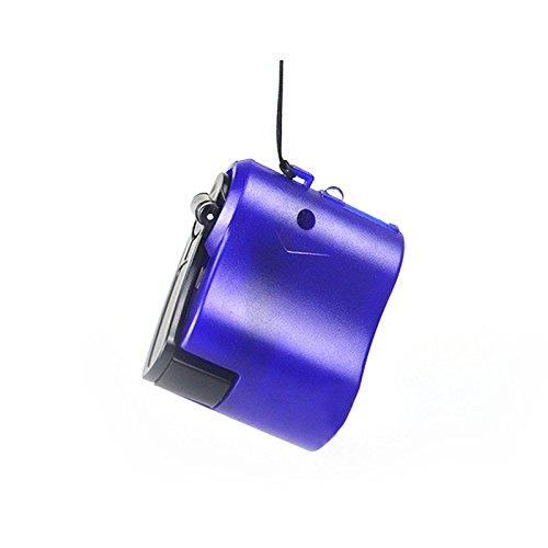 Hongfei Dínamo de la manivela cargador de emergencia de carga USB para los teléfonos móviles, MP3, MP4, fuente de alimentación, una linterna (azul)