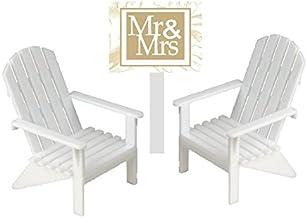 CakeSupplyShop White Small Mini Decorative Adirondack Plastic Beach Chair Wedding Anniversary Cake Decoration Toy Toppers ...