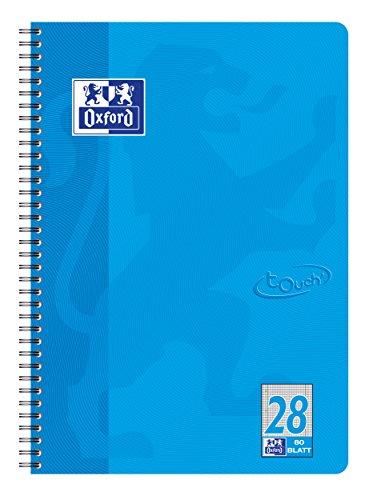 Oxford Touch Collegeblock A4, kariert mit Rand, 80 Blatt, meerblau