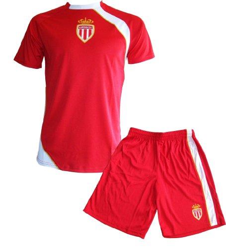 AS MONACO - Maglietta + Pantaloncini AS Monaco,completino ufficiale della squadra di calcio della Ligue1, taglia: Bambino /Ragazzo, rosso, 6 anni