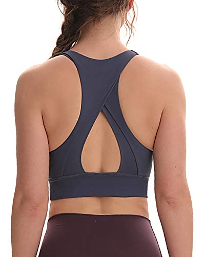Womens Sports Bra Crop Top Running Padded Support Workout Longline Yoga Gym Activewear Lilac Grey XL