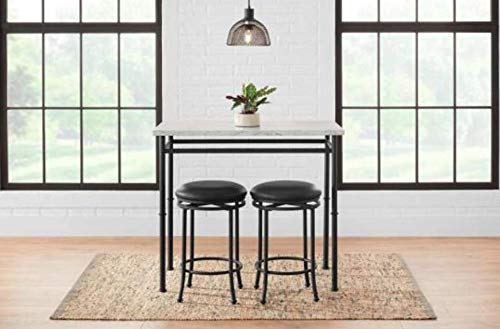 Amazon Com Stylewell 3 Piece Dining Set With Faux Marble Top 42 In W X 32 In H Black Metal Table Chair Sets