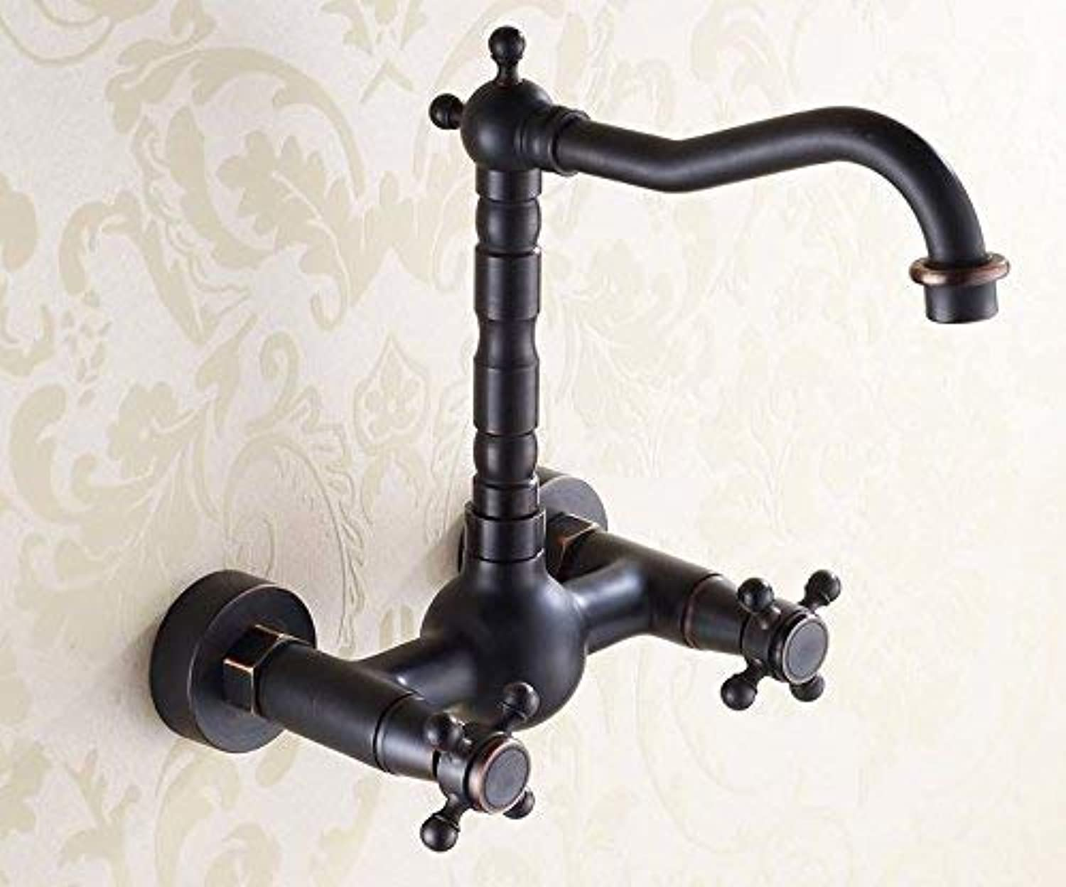 Oudan The American Style Copper Hot And Cold Wall Mounted Black Sink Vessel Faucetmixer Taps