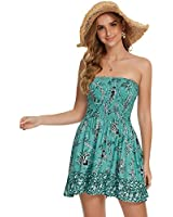 just quella Women's Summer Cover Up Strapless Dresses Solid Tube Top Beach Mini Dress (S, Peacock Green)