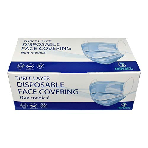 Triplast Disposable 3 Ply Face Masks   Pack of 50