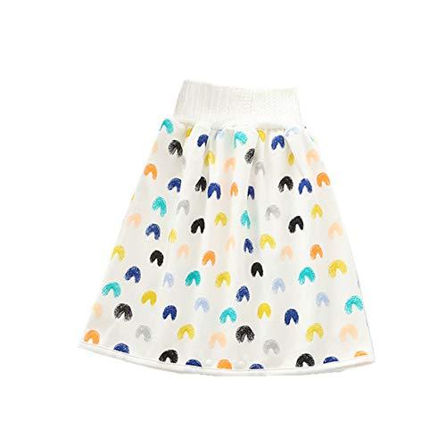 Falda de Pañales para Niños, Morbuy 2 en 1 Lavable Falda Aprendizaje Limpia Falda Pañal de Bebé Pantalones de Cintura Alta a Prueba de Fugas Para Un Buen Sueño (arco iris,M)
