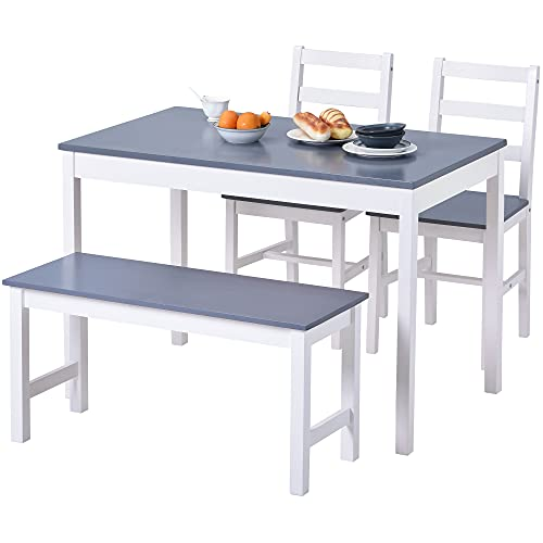 Solid Wooden Dining Table with 2 Chairs and 1 Bench, 4 Piece Classic Home Furniture Set, Modern Design for Kitchen,Dinette(Grey)