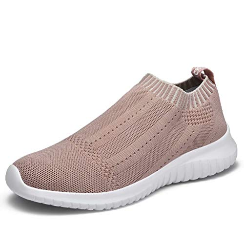 konhill Women's Casual Walking Shoes Breathable Mesh Work Slip-on Sneakers 8.5 US Apricot,39