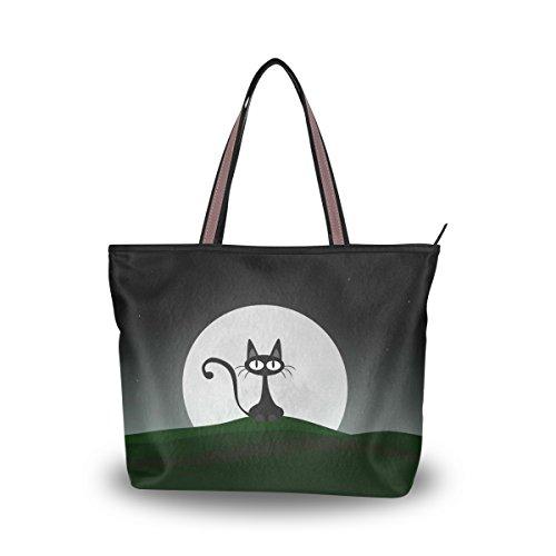JSTEL - Bolso grande para mujer, con asa superior, diseño de gato y luna, color negro