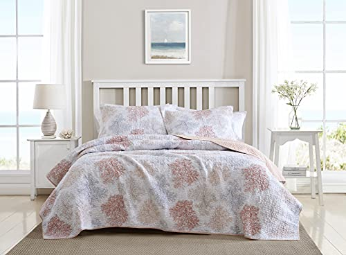 Laura Ashley Home | Saltwater Collection | Quilt Set - 100% Cotton, Reversible, All Season Bedding with Matching Shams, Pre-Washed for Added Softness, King, Coral