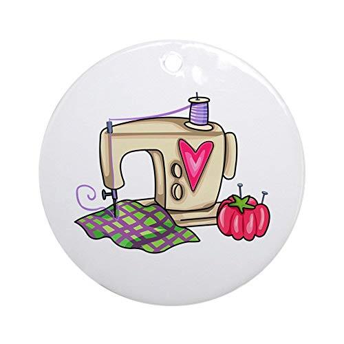 Adorno de máquina de coser EaYanery (redondo) personalizado de cerámica para vacaciones, Navidad 2019