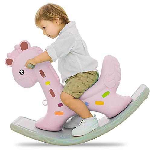 ZHKXBG Baby Schaukelpferd, Kind Cartoon Giraffe Schaukelpferd, Kinder Rocker, Kindergartenfahrt auf Tierspielzeug,Rosa
