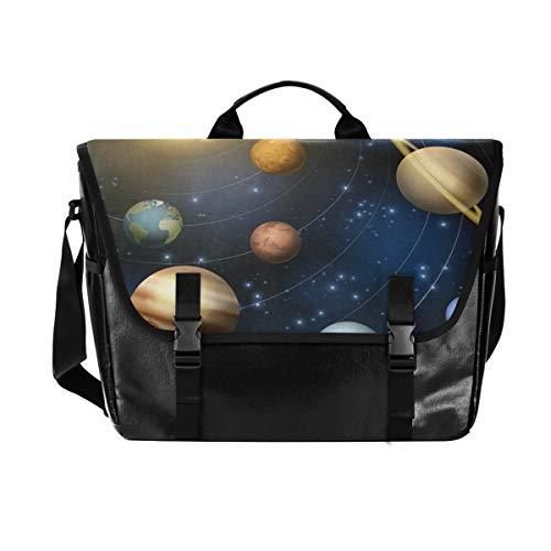 Hunihuni Messenger Bag Planet of The Solar System Canvas Laptop Aktentasche Tragetasche Umhängetasche für Herren mit Schultergurt Anzug für 15 Zoll