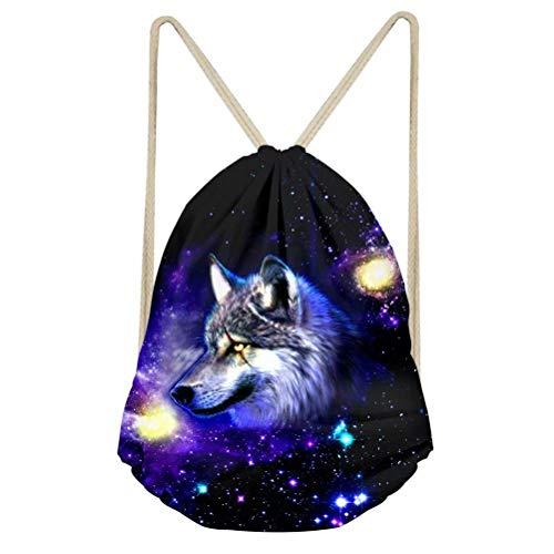 Dellukee Gym Sack Bag Teens Starry Sky Background Scar Wolf Printed Children Trip Sport Drawstring Backpacks