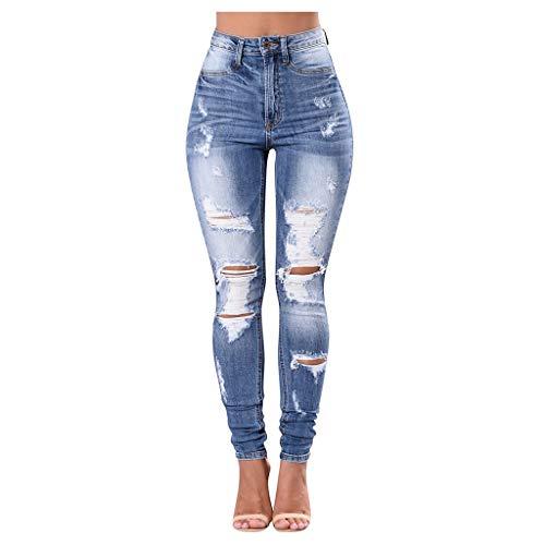 NPRADLA Frauen Lange Jeans Skinny Denim Loch zerrissene Freizeithose Hohe Taille Stretch Schlanke Frau Ganzkörperansicht Bleistifthosen