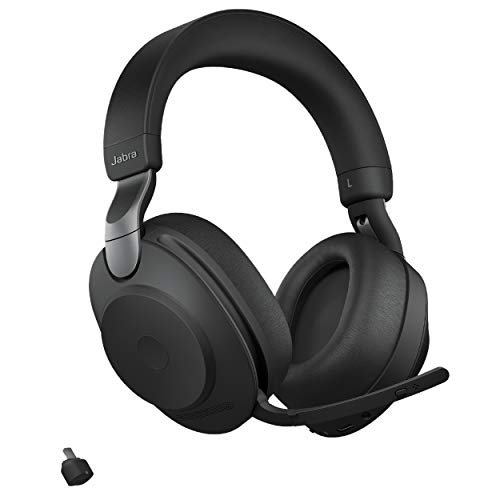 Jabra Evolve2 85 MS Wireless Headphones with Link380c, Stereo, Black – Wireless Bluetooth Headset for Calls and Music, 37 Hours of Battery Life, Advanced Noise Cancelling Headphones