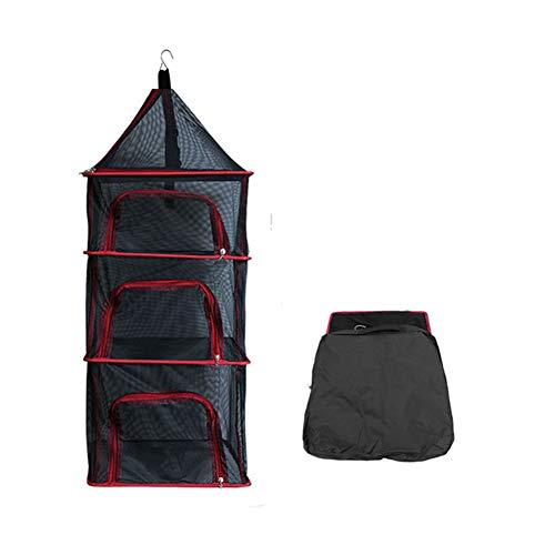 QINAIDI Rack de Secado de Hierbas de 3 Capas, Red deshidratadora de Alimentos, Malla de Secado Colgante, con Abertura para Cremallera