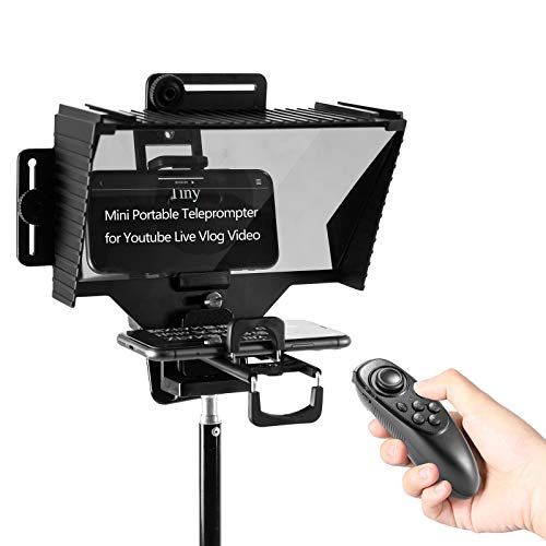 FULAIM Tragbarer Teleprompter für iPad/Tablet/iPhone/Android Smartphone, mit Adapterringen für Fernbedienung & Kameraobjektiv, Unterstützung für Videoaufnahme mit dem Kamera/Smartphone