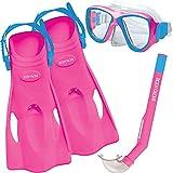 Body Glove Aquatic Mischief Mask Snorkel and Fins Set, Small/Medium, Pink Aquatic