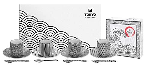 TOKYO design studio Nippon Black Espresso-Set schwarz-weiß, 12-TLG, 4X Espresso-Tassen mit Untertassen und Löffeln, asiatisches Porzellan, Japanisches Design, inkl. Geschenk-Verpackung