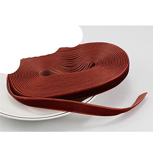 Artesanías 5Yards/Lote 10mm Cinta de Terciopelo DIY Ropa Accesorios de Ropa de Boda Decoración de Fiesta T0804-color 14 Rojo Curry
