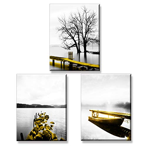 Piy Painting Golden Bridge by The Lake Canvas Painting, Framed Scenery Pictures Print on Canvas, Wall Art Home Décor Photo for Office Living Room, New Year Present for Family, 12x12in 3Pieces
