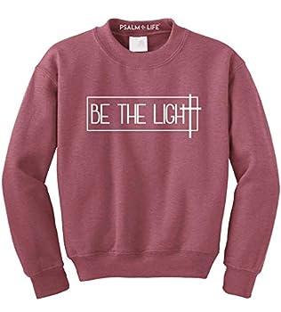 Psalm Life Be The Light Christian Pullover Sweatshirt - Unisex Religious Faith Crewneck  Small Heather Scarlet