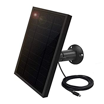 Weatherproof Solar Panel for Indoor / Outdoor Battery Powered Security Camera Solar Panel Power Supply for ViewZone Wireless Security Camera 5V 1A Micro USB Port Adjustable Mounting Bracket