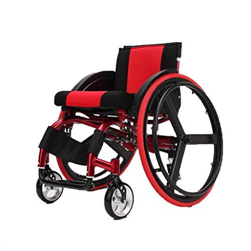 Silla de ruedas deportiva, Silla de ruedas manual, Plegable, Ligero, Transporte, Silla de ruedas de aleación de aluminio ultraligera, Desbloqueo rápido, Rueda trasera Amortiguador Trolley,,Red