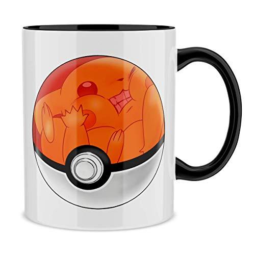 OKIWOKI Pokémon Lustiges Tasse mit farbigem Henkel und Innenleben (Schwarz) - Das Pokeball auf Pikachu (Pokémon Parodie signiert Hochwertiges Tasse - Ref : 418)