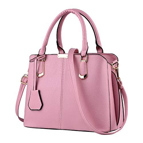 Top Handle Bag Phone Purse Cosmetic Satchels Womens Large Capacity Tote Shoulder Messenger Bag Waterproof Leather Handbag (Pink)
